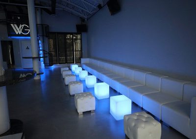 Long Sofa, LED Cubes Tufted Cube